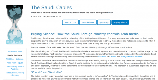 The Saudi Cables: Buying Silence: How the Saudi Foreign Ministry controls Arab media