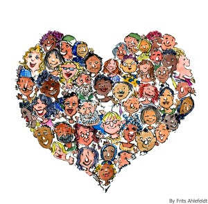 Drawing of a heart of people