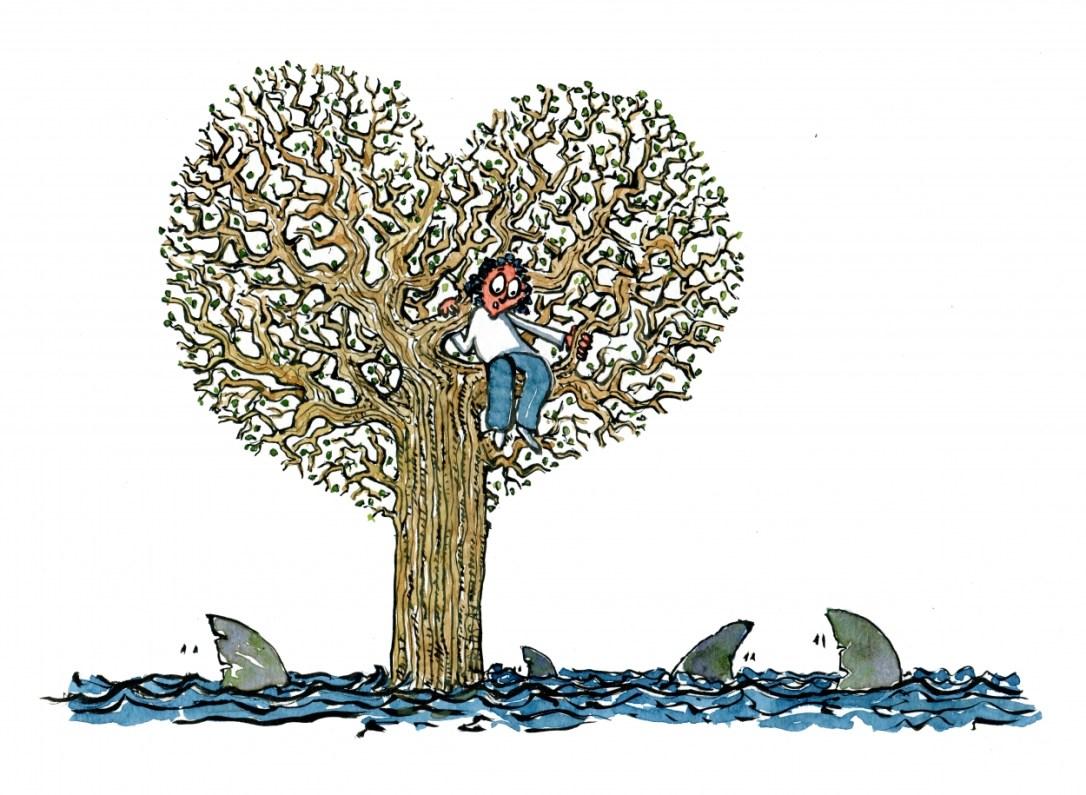 Woman in a heart formed tree