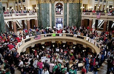 Protests inside the Wisconsin State House against the GOP efforts to bust the public union