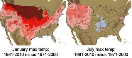 Temperatures have warmed in the US for all seasons, but much more rapidly in winter months