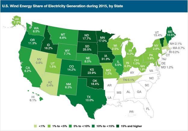 US Wind power map 2015