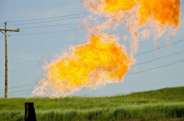 Gas flare at Evanson Place - Arnegard North Dakota