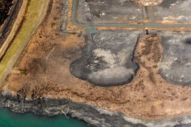 Coal ash waste pond. Most are unlined and nearly all contaminate groundwater