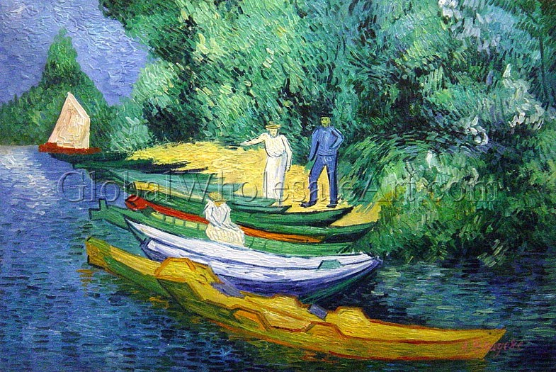 Vincent Van Gogh Rowing Boats On The Banks Of The Ois Oil Paintings On Canvas