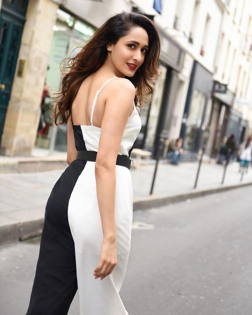 Pragya Jaiswal in Paris in Black and White Dress