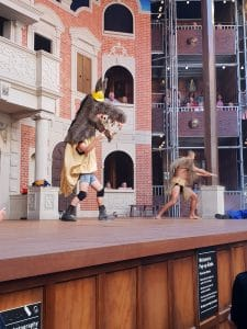 Bottom and Puck onstage in performance of Midsummer Nights Dream at Popup Globe Sydney