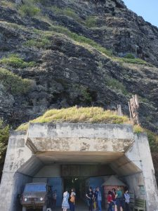 The entrance to WW2 bunker Battery Cooper on Kualoa Ranch. The bunker goes into the mountain.