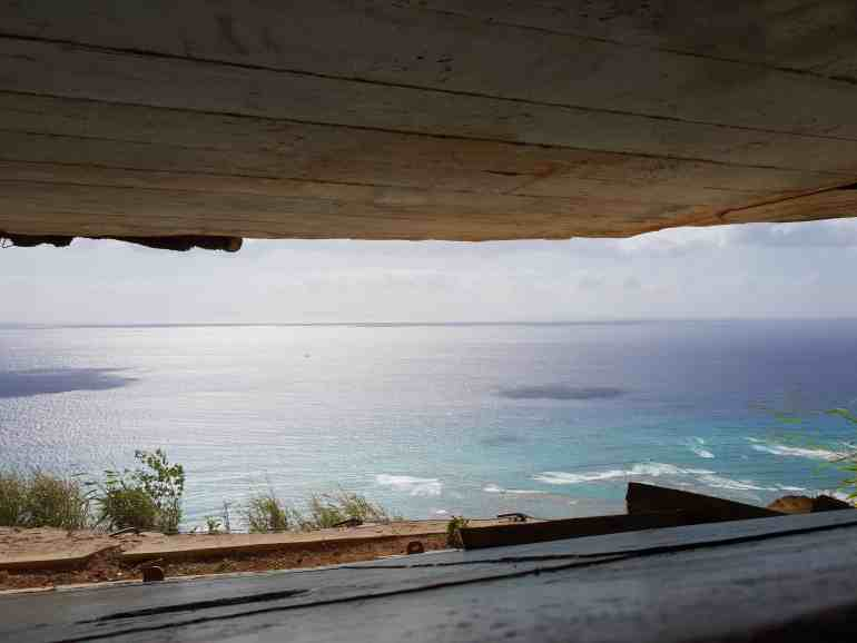 looking out from inside the military observation bunker on Diamond Head Waikiki