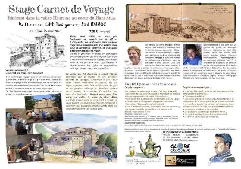 stage carnet de voyage maroc bougmez 2020