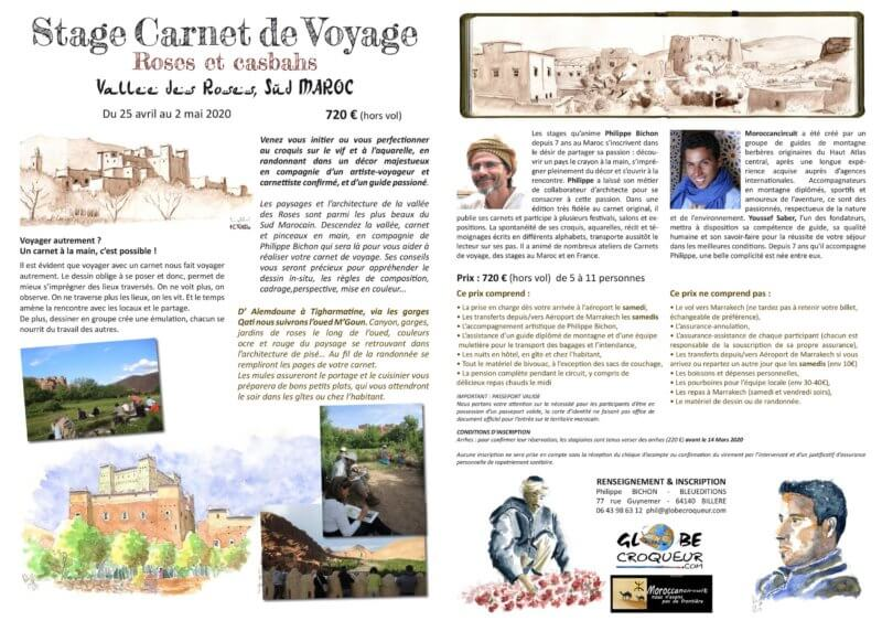 stage carnet de voyage maroc vallée des roses 2020