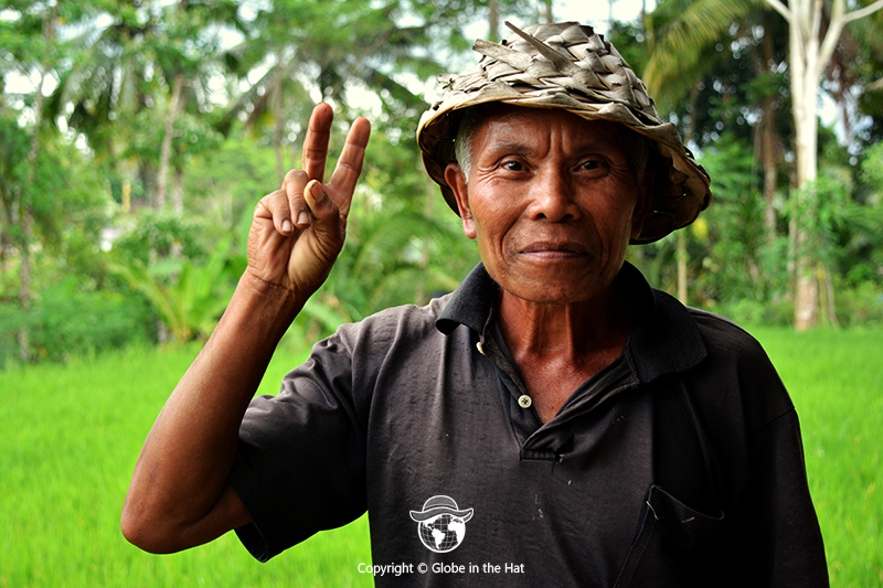 Indonesian man in a Bali rice field