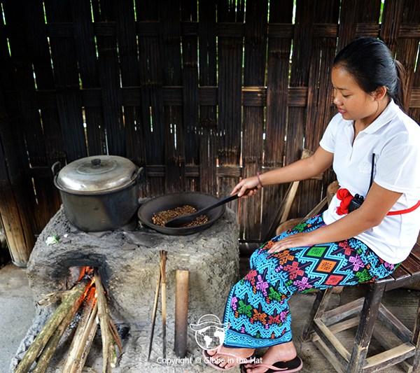 Roasting luwak coffee beans in Bali