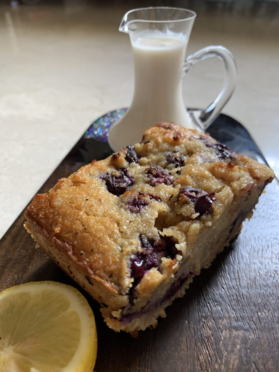 Lemon Blueberry Almond Loaf with Lemon Coconut Cream