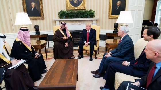 U.S. President Donald Trump meets with Mohammed bin Salman bin Abdulaziz Al Saud, Deputy Crown Prince of Saudi Arabia, and members of his delegation on March 14, 2017, in the Oval Office of the White House. (Image Credit: White House/Shealah Craighead)
