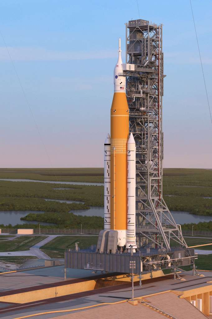 An artist's rendering of the Space Launch System Block 1 sitting on Launch Pad 39A with the Orion spacecraft at sunrise. (Image Credit: NASA)