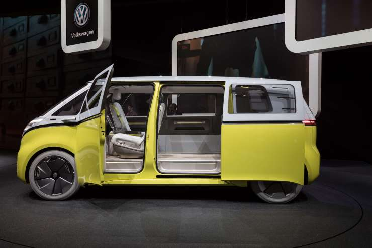 The Volkswagen I.D. Buzz concept vehicle on display at the Geneva International Motor Show on March 7, 2018. (Image Credit: Matti Blume/Wikimedia Commons)