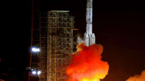 The launch of the Long March 3B Rocket at the Xichang Satellite Center in China. (Image Credit: AAxanderr/Wikimedia Commons)