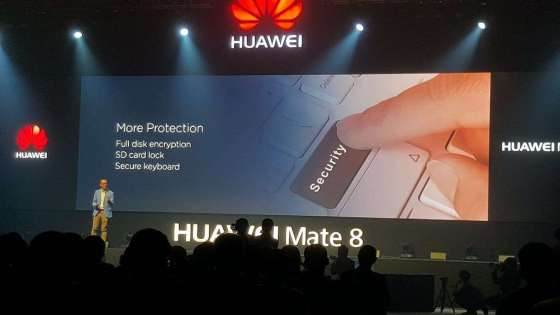 A Huawei official speaks on stage at the launch event for the Mate 8 smartphone on January 28, 2016. (Image Credit: Isriya Paireepairit)