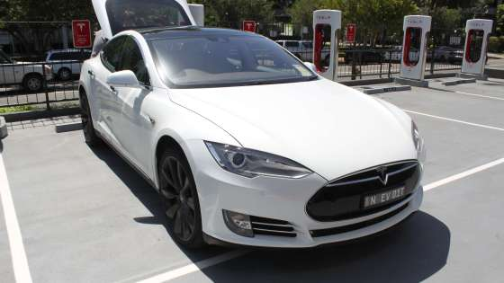 The Tesla Model S parked in Sydney, Australia (Image Credit: Jeremy/Wikimedia Commons)