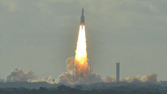 The Ariane 5 rocket lifting off from the Guiana Space Centre in Kourou, French Guiana. (Image Credit: Spotting973/Wikimedia Commons)