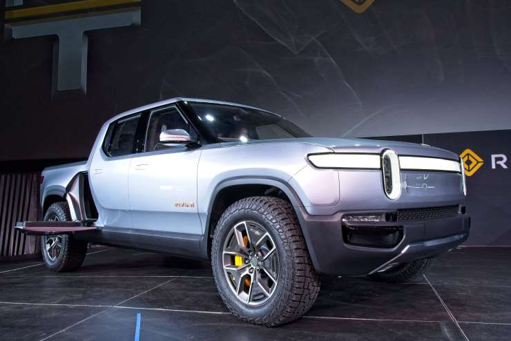 The Rivian R1T pickup truck debuts at the 2018 Los Angeles Auto Show on November 27, 2018. (Image Credit: Richard Truesdell)