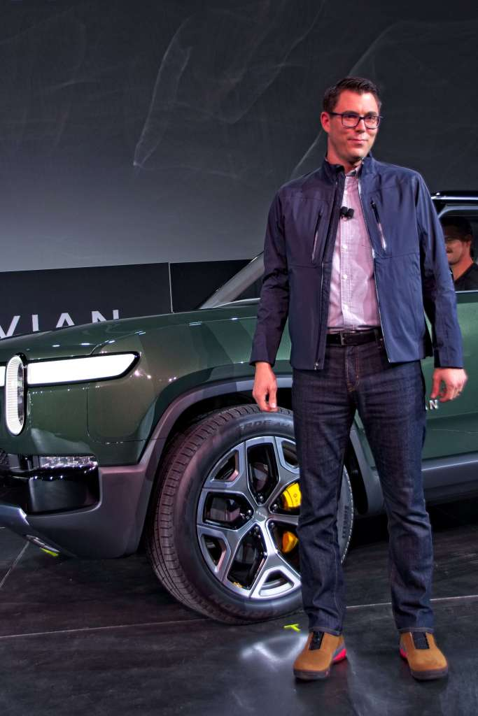 "Rivian founder and chief executive officer Robert ""RJ"" Scaringe at the debut of the Rivian R1S sports utility vehicle at the 2018 Los Angeles Auto Show on November 27, 2018. (Image Credit: Richard Truesdell)"