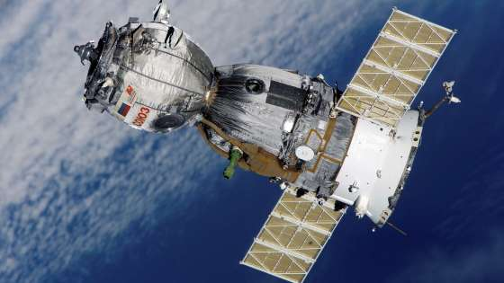 The Russian Soyuz TMA-7 space craft in orbit.