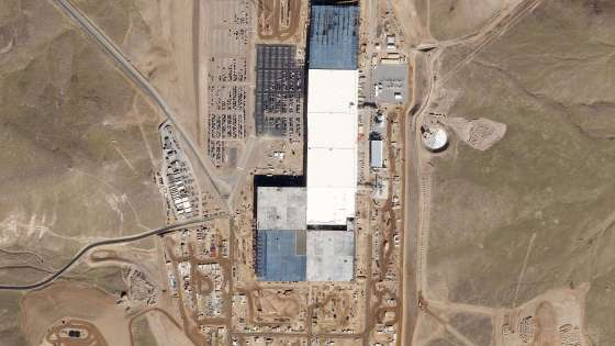 An aerial shot of the Tesla Gigafactory in Sparks, Nevada. (Image Credit: Planet Labs, Inc.)