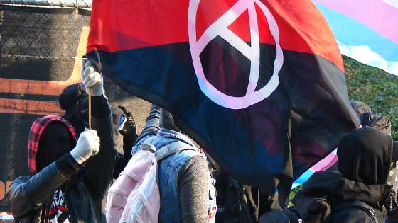 Antifa protestors face off with opponents from the far-right Patriot Prayer group on December 9, 2017. (Image Credit: Old White Truck/Wikimedia Commons)