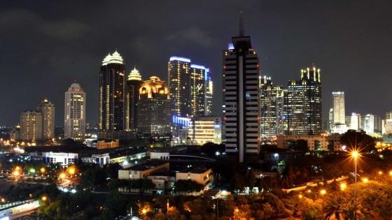 A view of the Jakarta skyline at night. (Image Credit: Muhammad Rasyid Prabowo/Wikimedia Commons)