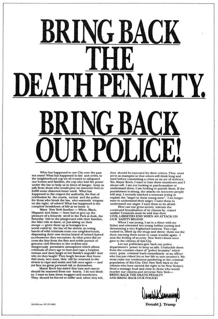 """An advertisement placed by Donald Trump in several newspapers in 1989 calling for bringing back the death penalty in New York state amid the """"Central Park Five"""" case."""