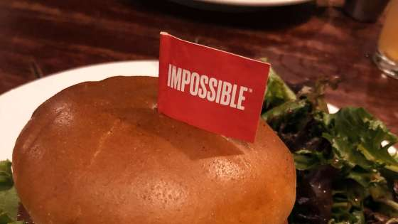 The Impossible Burger, a vegan burger with heme harvested from soybean roots to look, feel, and taste like beef, as prepared by Hell's Kitchen in Downtown Minneapolis, Minnesota.(Image Credit: Tony Webster/Flickr)