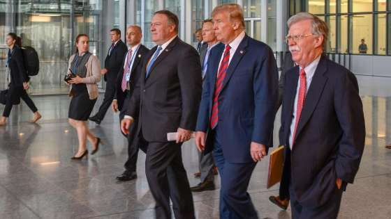 Pompeo with Bolton and Trump.