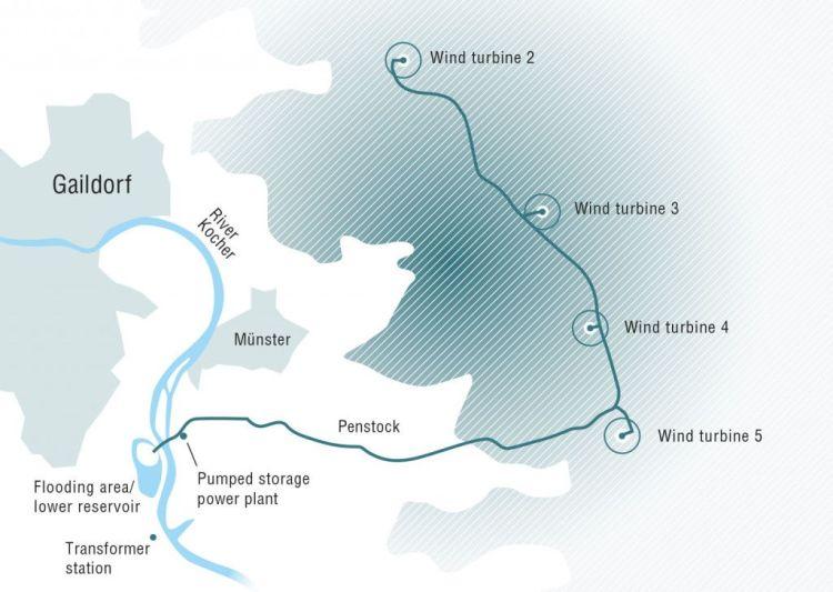 Plan farmy wiatrowej ze zbiornikiem wodnym