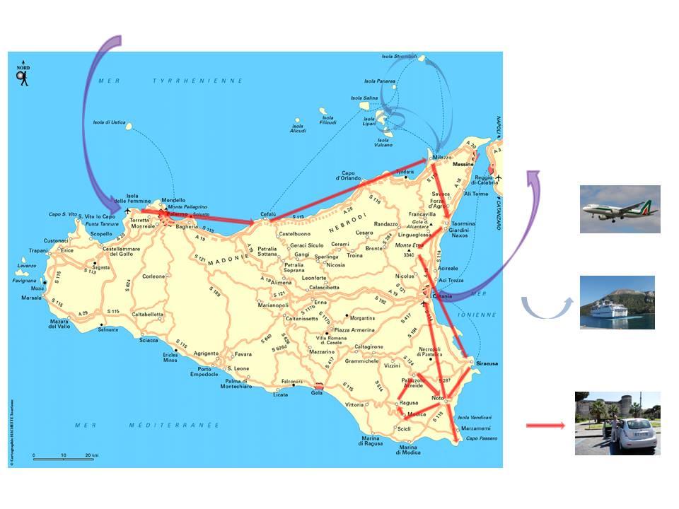 notre voyage en Sicile, l'itinéraire
