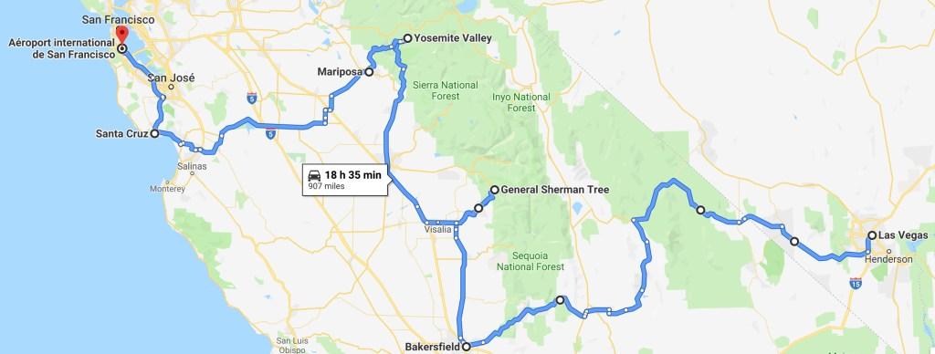 Itinéraire Las Vegas San Francisco