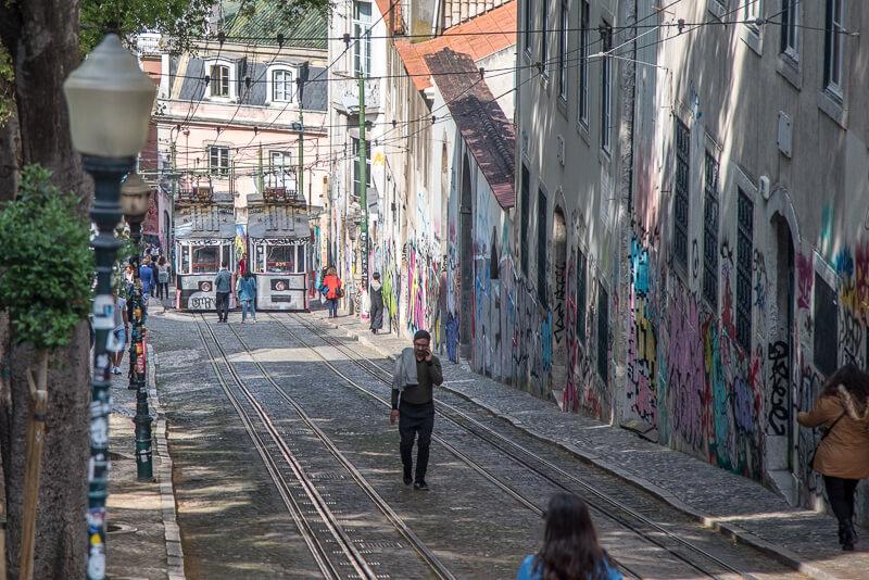 Lisbonne - funiculaire de la Bica et street art