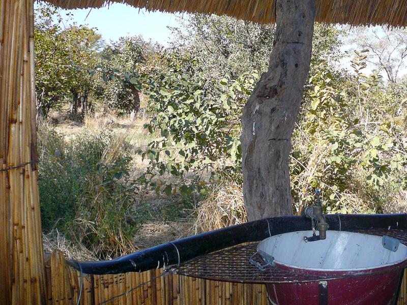 Afrique australe - Botswana, Moremi - salle de bain avec vue