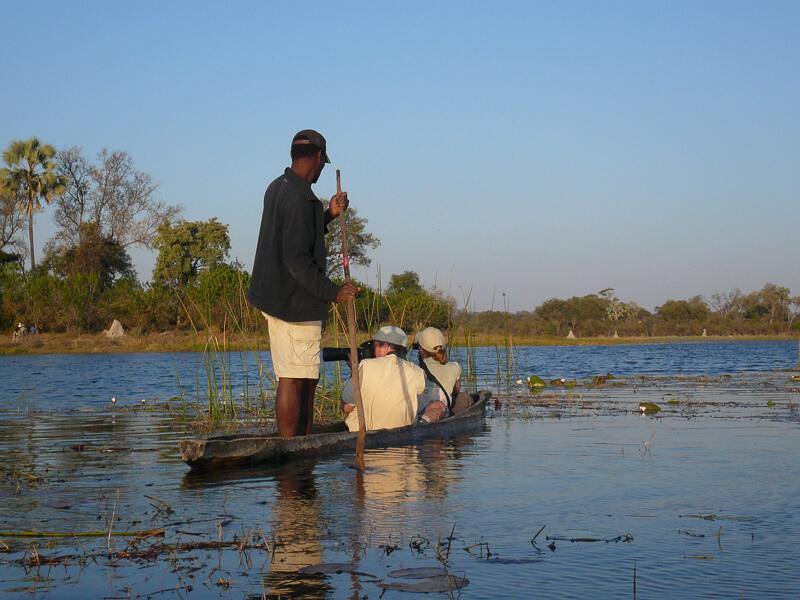 Afrique australe - Botswana, balade en mokoro dans la piscine aux hippopotames dans le delta de l'Okavango