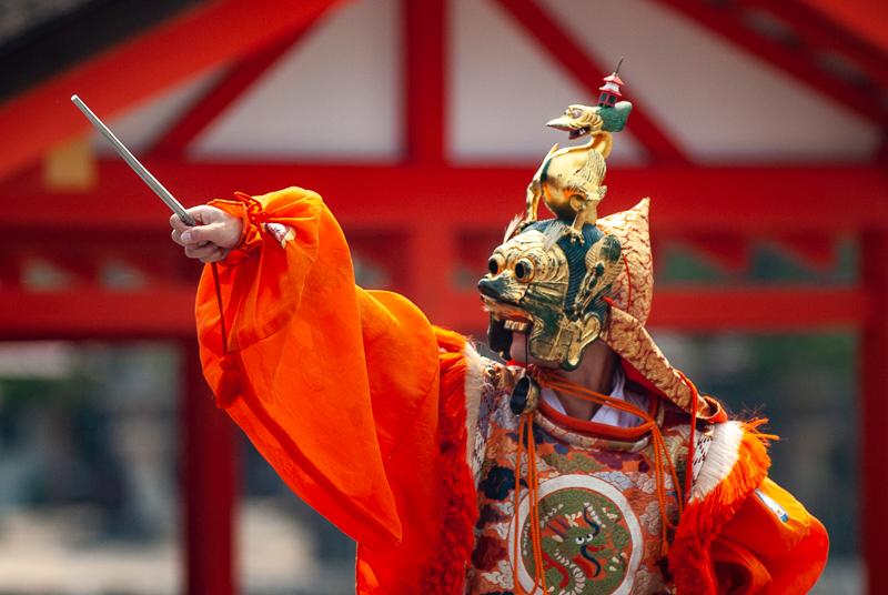 Japon, Miyajima - Danseur Bugaku au sanctuaire Itsukushima