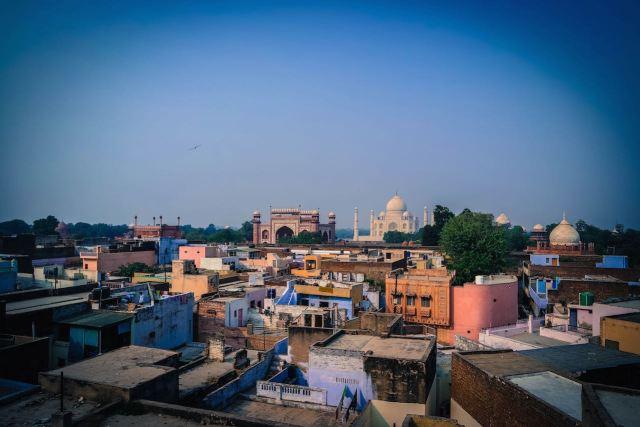 Aussicht auf der Dachterrasse des Hotel Kamal