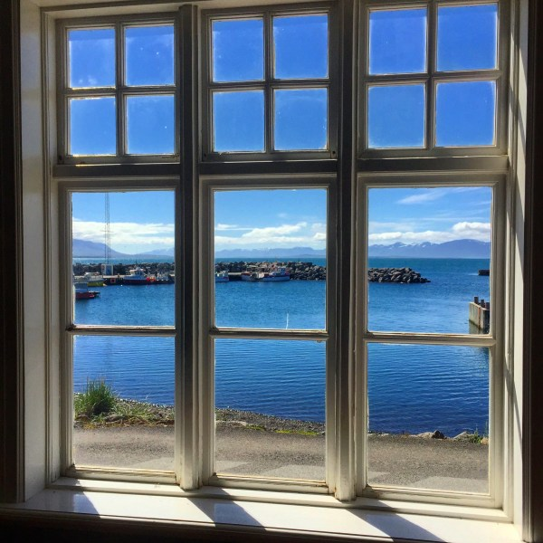 Window looking out into Hofsos harbor