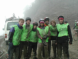 We were covered in mud.  It rained hard and added other challenges on the descent, especially for these friends from England...What a hoot!