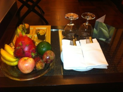 Lotus Suite Welcome Fruits, Macarons and Muffins
