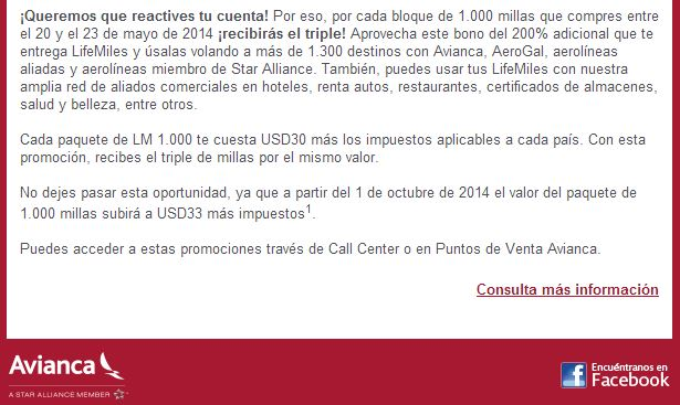 Avianca 3x1 May 2014