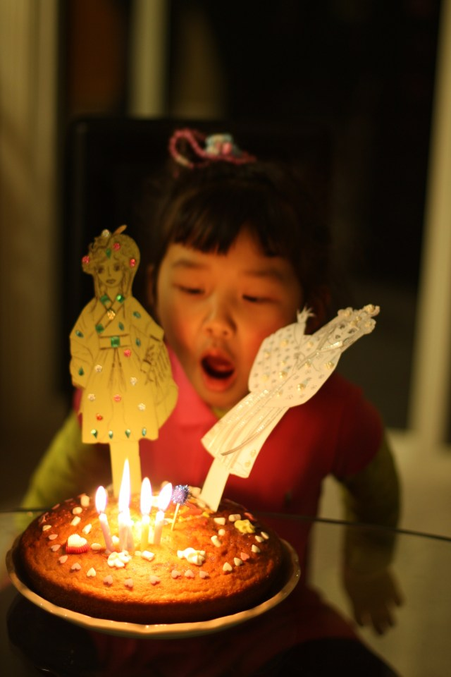 Made her own birthday cake with Por Por for her Chinese birthday