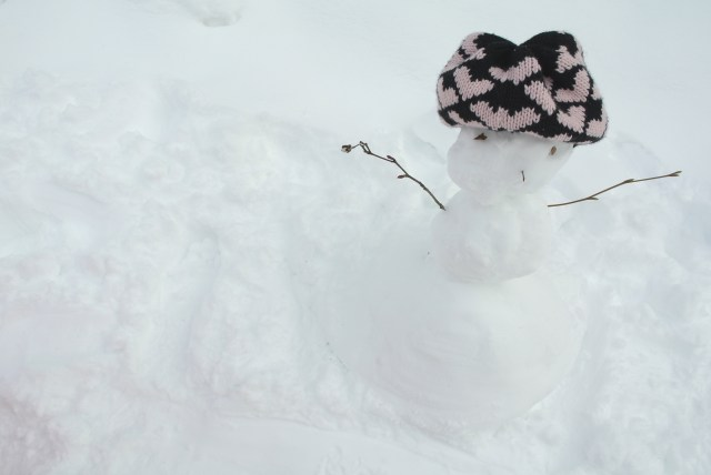 "Our miniature snowman name ""Snowy"" by Bridgette :)"