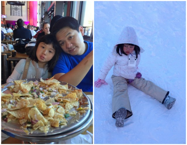 Left: indulging in nachos for our afternoon snack | Right: some free play in the snow after tubing