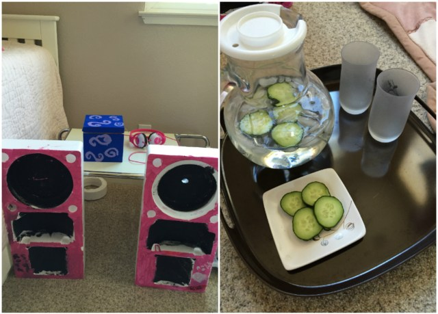 Left: The girls' DJ station | Right: Cucumber water to drink and cucumber slices for their eyes